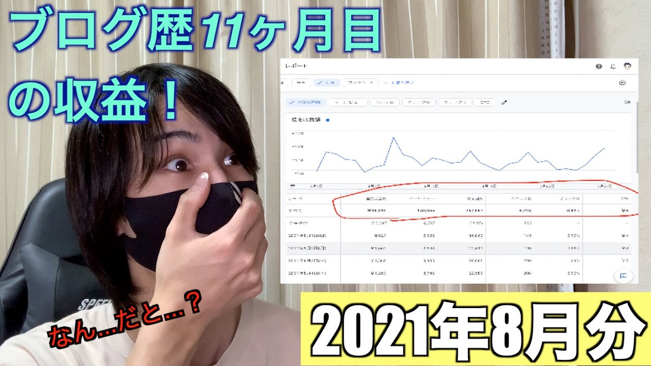ブログ歴11ヶ月目の収益【2021年8月分】